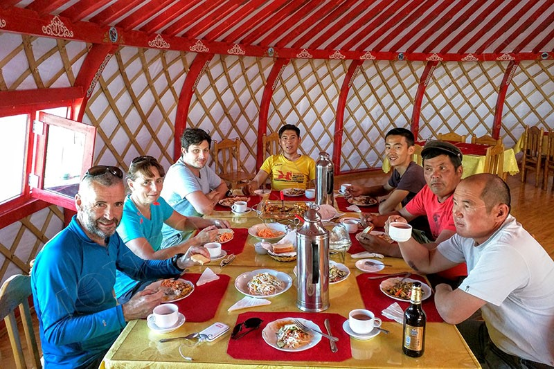 In the luxury of a ger camp - Gobi Desert cycle tour