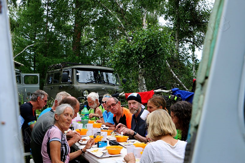 Lunch in woods - Nomadic Mongolia bike tour